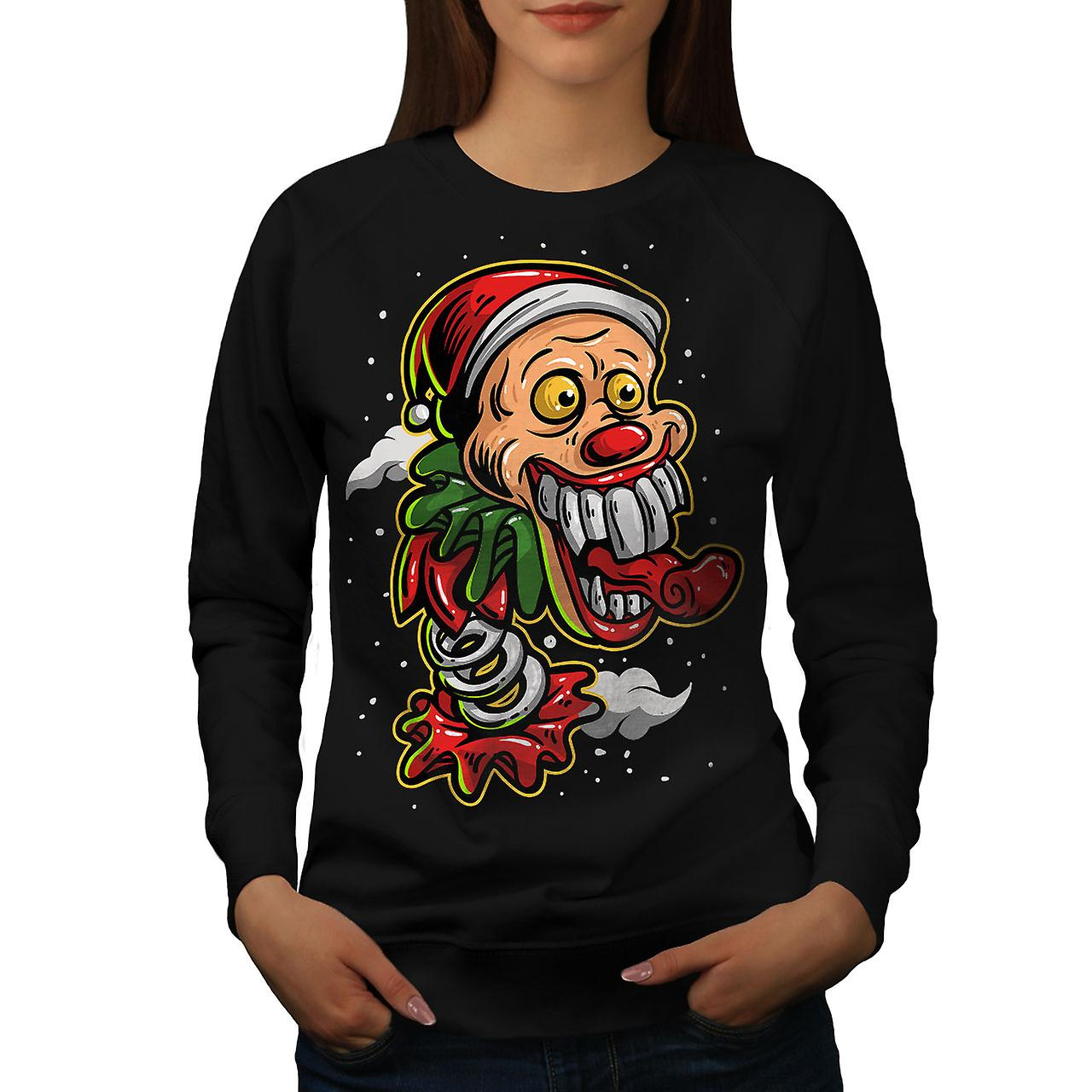 BlackSweatshirt de femmes Clown Noël   Wellcoda