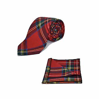 Traditionelle rote & gelbe Tartan Check Krawatte & Einstecktuch Set - Tweed, karierten Country-Look
