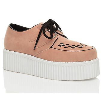 Ajvani kvinners flat plattform kile snøre goth punk villvin sko støvler