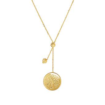 14k Yellow Gold Tree of Life Small Bead Lariat on Chain Necklace, 18""