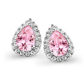 Orphelia Silver 925 Earring Drop roze kleur zirkonium ZO-7226/PI
