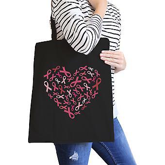 قلب الشريط الوردي قماش حمل قماش أسود لطيف حقيبة كتف هدية