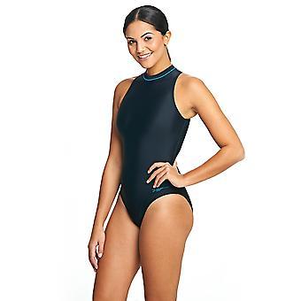 Zoggs vrouwen kabel Highneck zwemmen kostuum zwart / blauw chloor bestendig