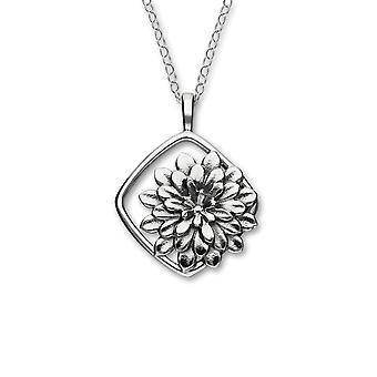 Sterling Silber schottischen November Chrysantheme Geburt Blume handgefertigt Halskette Anhänger