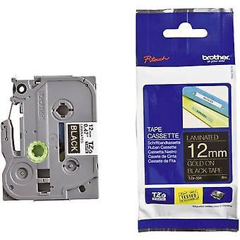 Labelling tape Brother TZe, TZ TZe-334 Tape colour: Black Font colour:Gold 12 mm 8 m
