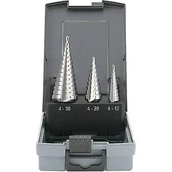 TOOLCRAFT 821395 HSS Step drill bit set 3-piece 4 - 12 mm, 4 - 20 mm, 6 - 30 mm Cylinder shank 1 Set