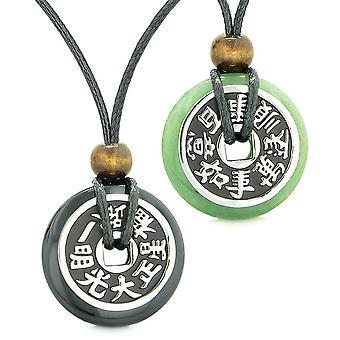 Amulette große Reversible Fortune Münzen Liebe Paare Yin Yang Schwarz Achat Grün Quarz Halsketten