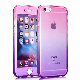 Capa Crystal Case para Apple iPhone 6s plus rosa roxo corpo cheio de frame