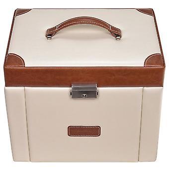Sacher smycken box grädde brun smyckeskrin, TRAVEL titta fack lås