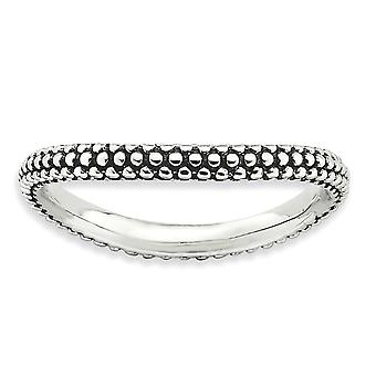 2.25mm 925 Sterling Silver Patterned finish Stackable Expressions Polished Wave Ring Jewelry Gifts for Women - Ring Size