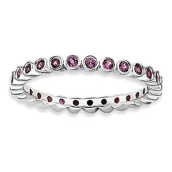 925 Sterling Silver Bezel Polished Patterned Rhodium plated Stackable Expressions Rhodolite Garnet Ring Jewelry Gifts fo