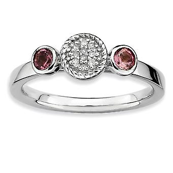 925 Sterling Silver Bezel Polished Prong set Rhodium plated Stackable Expressions Db Round Pink Tourm. and Dia. Ring Jew