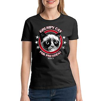 Grumpy Cat knorrige voor voorzitter vrouwen zwart grappig T-shirt