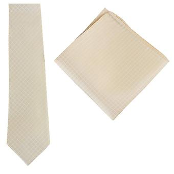 Knightsbridge Neckwear Check Tie and Pocket Square set - Yellow