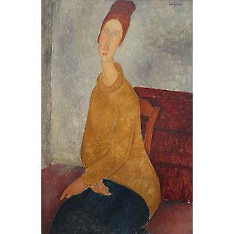 Jeanne Hebuterne med gul genser,Amedeo Modigliani,77x50cm