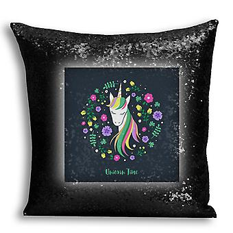 i-Tronixs - Unicorn Printed Design Black Sequin Cushion / Pillow Cover with Inserted Pillow for Home Decor - 15