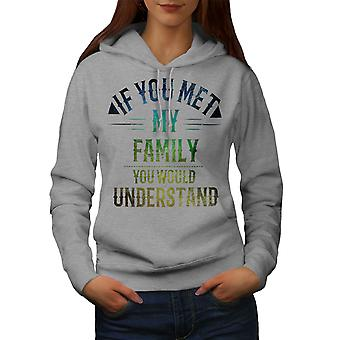 Perhe Hullu Funy Naiset GreyHoodie | Wellcoda, mitä sinä olet?