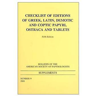 Sjekkliste for utgaver av greske og latinske Papyri, Ostraca og tabletter