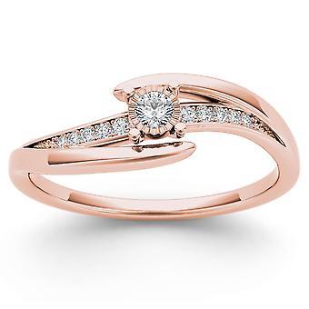 Igi certifierad 14k steg guld 0,10 ct naturlig diamant mode förlovningsring