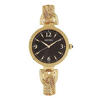 Bertha Sarah ketju Watch w/roikkuu Charm - kulta/musta