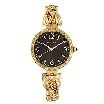 Bertha Sara malla reloj w/colgante Charm - oro/negro