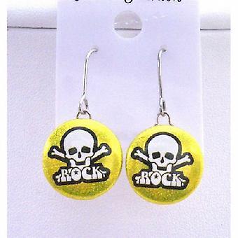 Rock korvakorut kallo pää kohokuvioitu kultainen metalli Rock Halloween korvakorut