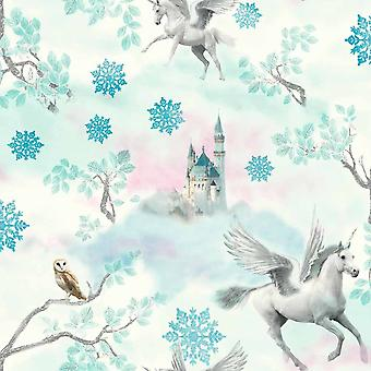 Fairytale Unicorn Glitter Wallpaper Girls Mystical Textured White Ice Blue