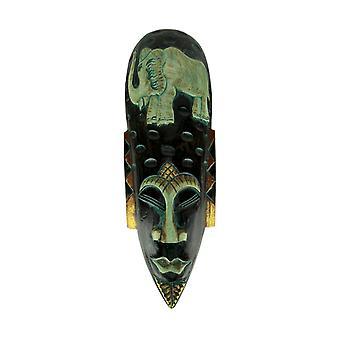 Hand Carved Wood Indonesian Jenggot Wall Mask Elephant Design
