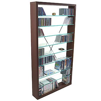 Arizona - Cd 760 / 350 Dvd / Blu-ray / supports verre étagères de rangement - chêne foncé