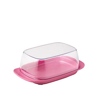 Rosti Mepal Plastic Butter Dish, Clear with Nordic Rose Base