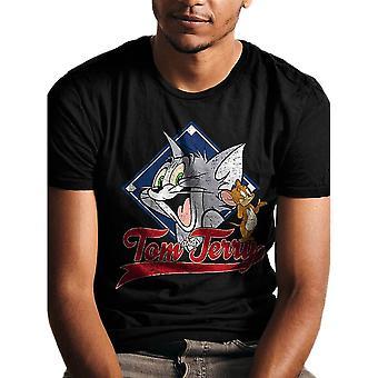 Men's Retro Tom and Jerry Varsity Black T-Shirt