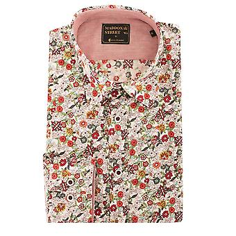 Maddox Street Small Colourful Flowers Long Sleeve Cotton Mens Shirt