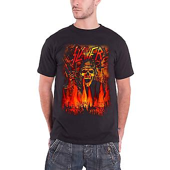 Slayer T camisa soldado esqueleto Wehrmacht banda logotipo oficial Mens novo preto