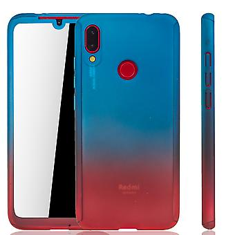 Xiaomi Redmi Note 7 Handy-Hülle Schutz-Case Full-Cover Panzer Schutz Glas Blau / Rot