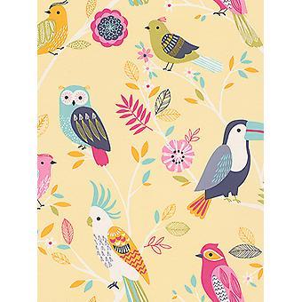 Vogels behang geel Rasch 293029