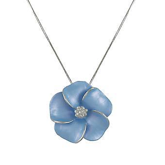 Wieczne kolekcji bratek chaber niebieską emalią kwiat tonu Srebrny wisiorek naszyjnik