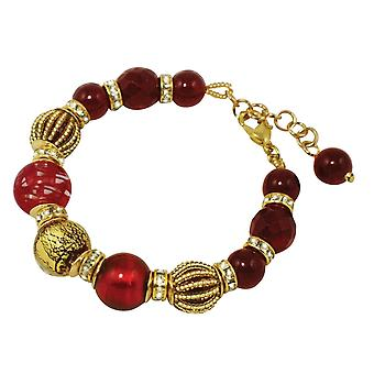 Eternal Collection Roma Red And Gold Venetian Murano Glass Bracelet