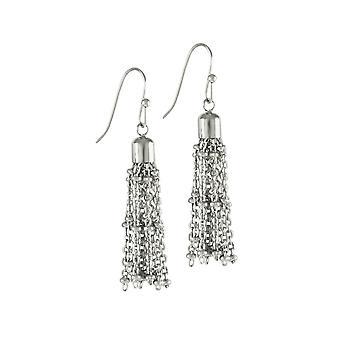 Ewige Sammlung Kensington Edelstahl Quaste Silber Ton Tropfen durchbohrt Ohrringe