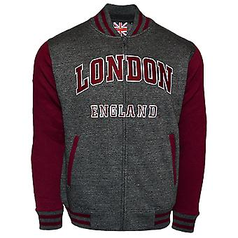 Le170cm london england unisex baseball jacket charcoal maroon