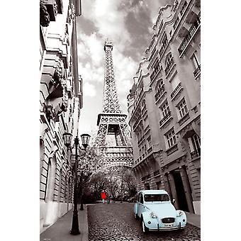 Paris Red Girl Blue Car Maxi Poster 61x91.5cm