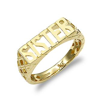 Jewelco London Ladies Solid 9ct Yellow Gold Basket Sides SISTER Ring