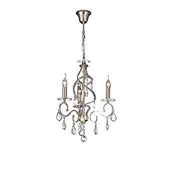 Diyas Torino Pendant 3 Light French Gold/Crystal