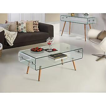 Schuller Glass Ii Coffee Table, Beechwood Leg