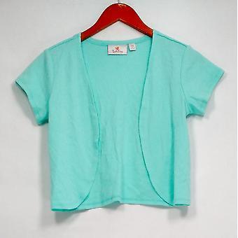 Quacker Factory Sweater XXS Open Front Short Sleeve Knit Shrug Blue A275497