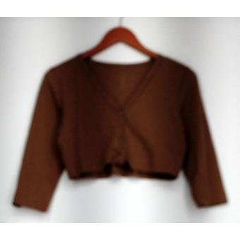 Marccain Sweater Short V Neck Button Front Cardigan Brown