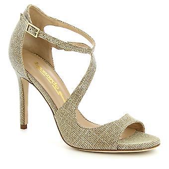 Leonardo kengät naiset ' s käsintehty nilkka hihna korko kengät sandaalit platinaa kangasta