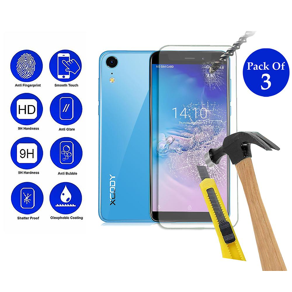 Pack of 3 Tempered Glass Screen Protection For XGODY XR 5