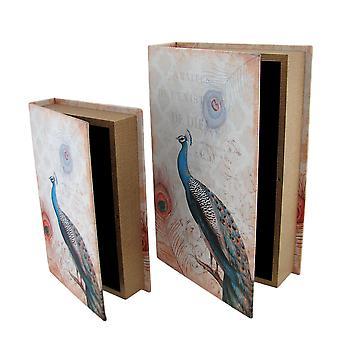 Set di 2 scatole di pavone in ecopelle stampa libro segreto Stash
