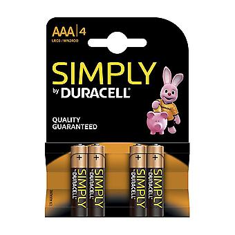 Duracell Simply AAA Batteries - 4 Pack