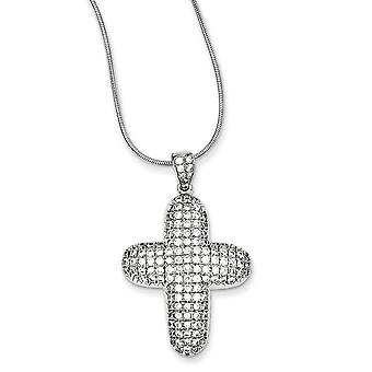 925 Sterling Silver Rhodium plated Lobster Claw Closure and CZ Cubic Zirconia Simulated Diamond Religious Faith Cross Ne